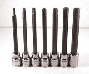 Extra Long Sae Hex Bit Socket Set 7 Pc Atd 13786 Brand New