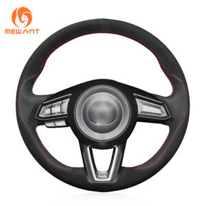 Diy Black Suede Leather Steering Wheel Cover For Mazda 3 Cx 3 Cx5 Mazda 6 Cx 9