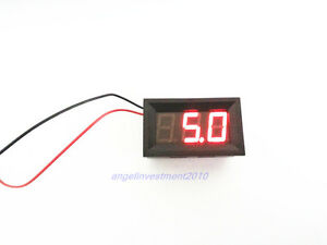 10pcs Mini Red Led Digital Volt Meter 4 5 30v No Add Power Required