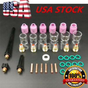 40x Tig Welding Torch Stubby Gas Lens 10 12 Pyrex Glass Cup Kit For Wp 9 20 25