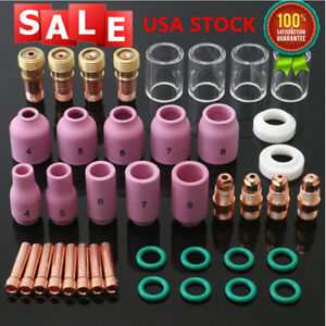 40pcs Tig Welding Torch Stubby Gas Lens 10 Glass Pyrex Cup Kit For Wp 17 18 26