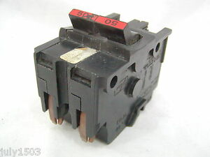Federal Pacific 50 Amp 2 Pole Circuit Breaker Stab Lok Thick Fpe