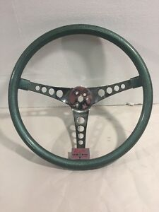 Vintage Green Metal Flake 15 5 Superior 500 Style Chrome Spoke Steering Wheel