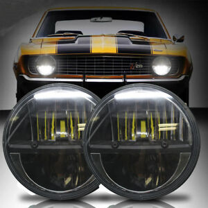 Led Diamond Black Universal 7 Inch Round Headlights For Ford Mustang 1965 1978