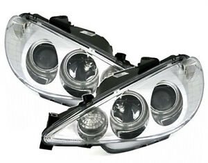 Ccfl Angel Eyes H1 H7 Headlights Set For Peugeot 206 In Chrome Finish