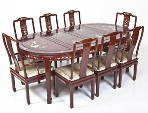 Vintage Chinese Mother Of Pearl Inlaid R Wood Dining Set 2 Arm 6 Side Chairs