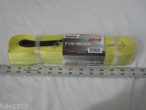 One 1 Tow Strap 2 X 20 Yellow Woven Breaking Strength 10 000 Lbs