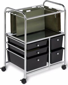 5 drawer Rolling File Cart Office Chrome Black Cabinet Storage Organizer New