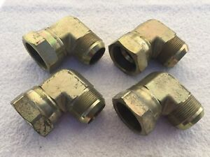 lot Of 4 Parker Hydraulic Fittings Male female 90 Elbow 1 7 8 Pipe 24jic