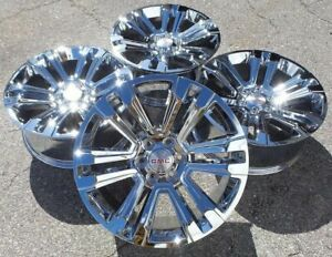 Chrome Gmc Sierra Denali Wheels Rims Yukon 22 Chevy Silverado Tahoe Avalanche