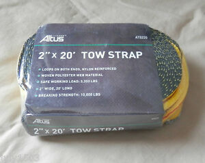 1 New Altus Tow Strap 2 X 20 Woven Polyester Breaking Strength 10 000 Lbs