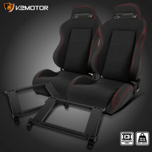 For 92 95 Civic 94 01 Integra Black Cloth Red Stitching Racing Seats Brackets X2