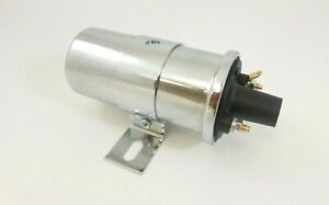 12v Universal Chrome Ignition Street Coil Canister Without Resistor Hot Rod