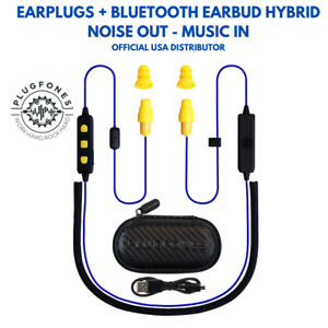 Plugfones Liberate 2 0 Earplug earbud Hybrid Blue Cable Yellow Accents