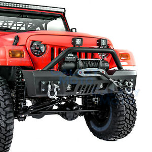 Rock Crawler Stubby Front Bumper Winch Plate 2pcs Led For 97 06 Jeep Wrangler Tj