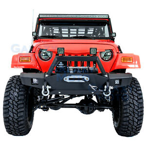 Rock Crawler Shd Front Bumper Winch Plate 2pcs Led For 97 06 Jeep Wrangler Tj