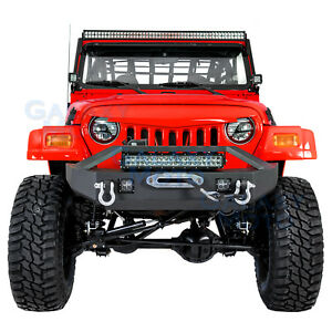 Front Bumper Winch Plate 2x Led Light 21 Led Light For 97 06 Jeep Wrangler Tj