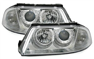 Chrome Clear Finish Angel Eyes Headlights For Vw Passat 3bg 00 05