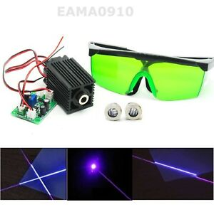 Dot 405nm 100mw Blue violet Laser Module Ttl W Line cross Caps 450nm Goggles