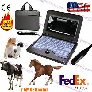 Usa Seller Ce Veterinary Machine Laptop Ultrasound Scanner Vet 7 5m Rectal Probe