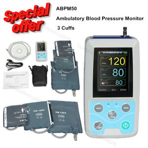 24 Hours Ambulatory Blood Pressure Monitor Nibp Holter With 3 Cuffs Software