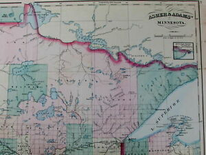 Minnesota Huge State Map 1872 Old Detailed Asher Adams Hand Color