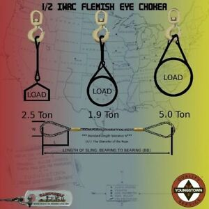 Choker Sling Wire Rope Steel Cable Flemish Eye 1 2 X 4 Eips Rigging Choker