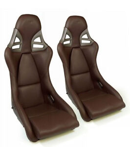 2 X Sport Seats Carbon Fiber In Leather Brown For Porsche 997 Gt3 Gt2 996 911