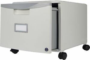 Storex Grey 1 drawer Mini File Cabinet With Lock And Casters