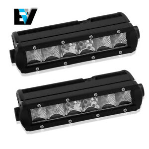 2x 7inch Led Work Light Bar Combo Single Row Offroad 4wd Suv Driving 9 Vs 12 15