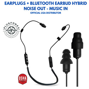 Plugfones Liberate 2 0 Bluetooth Earplug earbuds Black Cable Gray Accents