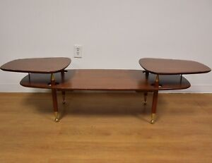 Marvelous Two Tiered Mahogany And Brass Mid Century Coffee Table