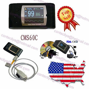 Handheld Pulse Oximeter blood Oxygen Monitor spo2 pulse Rate software Cms60c Usa