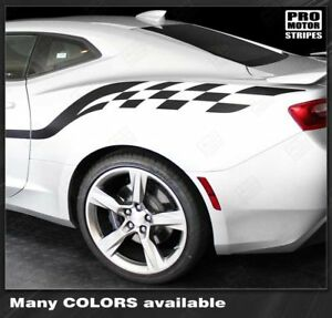 Chevrolet Camaro 2016 2018 Checkered Style Side Stripes Decals choose Color