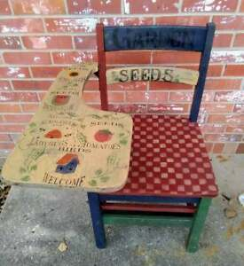 Vintage Child S School Desk Painted Garden Seeds Checkerboard Seat Blue Burgundy