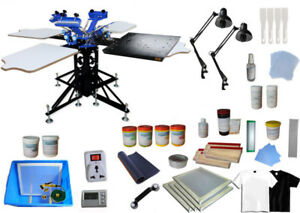 3 Color 4 Station Print Materials Kit Silk Screen Printing Press Equipment Dryer