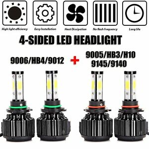 Car Headlight Bulb 9005 And 9006 Led Combo 4 side High low Beam Super Bright