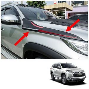 Side Vent Hood Trim Garnish Black For Mitsubishi Pajero Montero Sport 2016 17