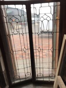 Sg 1673 Matched Pair Antique Leaded Glass Window 22 5 X 61 Tall