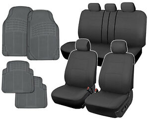 Car Seat Covers Gray Polyester Cloth Front rear Split Bench Rubber Floor Mats