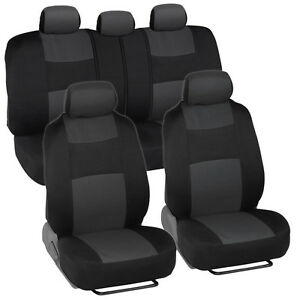 Car Seat Covers For Nissan Versa 2 Tone Charcoal Black W Split Bench