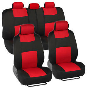 Car Seat Covers For Honda Civic Sedan Coupe Red Black Split Bench