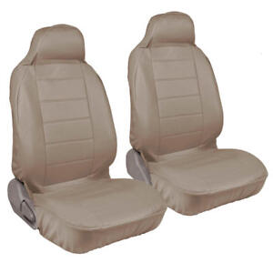 Front High Back Bucket Seat Covers Set Beige Tan Synthetic Leather 2pcs