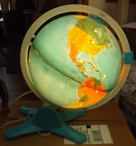 Vintage Library Lighted Globe Earth Planet Map W World Atlas 16 Tall