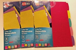 Avery Reversible Dividers 5 Big Tab set Glitter Covered Set Of 3 15 Dividers