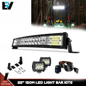 Curved Led 22 Light Bar For Deere 9100 9200 9300 9300t 9400 9400t W cube Pods