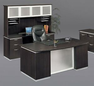 New Pimlico Mocha Modern Bowfront Executive Office Desk With Credenza And Hutch