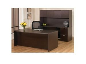New Napa Espresso Bowfront Executive Office Desk Set With Credenza And Hutch