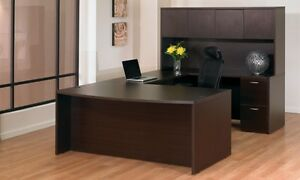 New Napa Espresso Bowfront U shape Executive Office Desk With Hutch