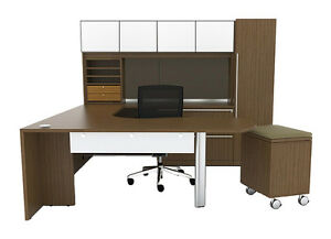 New Verde Modern Arc end U shape Executive Office Desk Station Suite Set 745